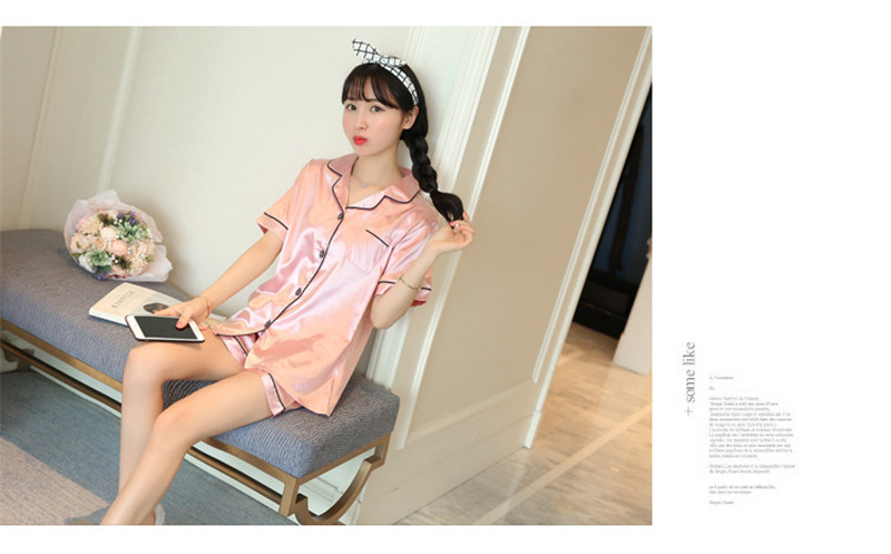 H1a49a36db3774734aebb3b9cfc89d44eY - JULY'S SONG New Spring Summer Women Faux Silk Pajamas Set Simple Pure Color Leisure Nightwear Short Sleeves Sleepwear