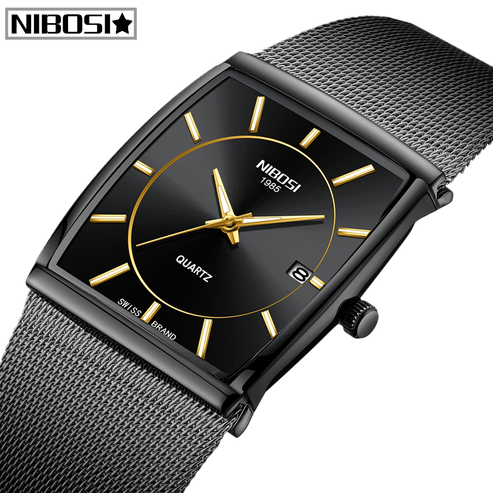 NIBOSI Mens Watches Top Brand Luxury Waterproof Sport Watch Men Casual Ultra Thin Mesh Band Quartz Wrist Watch Relogio MasculinoQuartz Watches   -