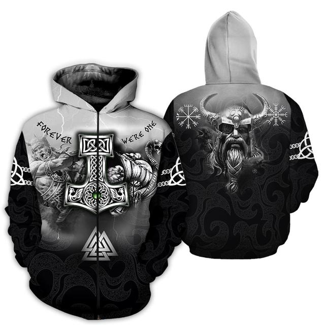 3D All Over Printed Tattoo Viking Odin Hoodie 2