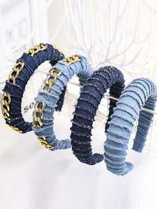 Chain Hairband Hair-Accessories Fabric-Hair Cool Hot-Sale Denim Women Girl Fashion Solid