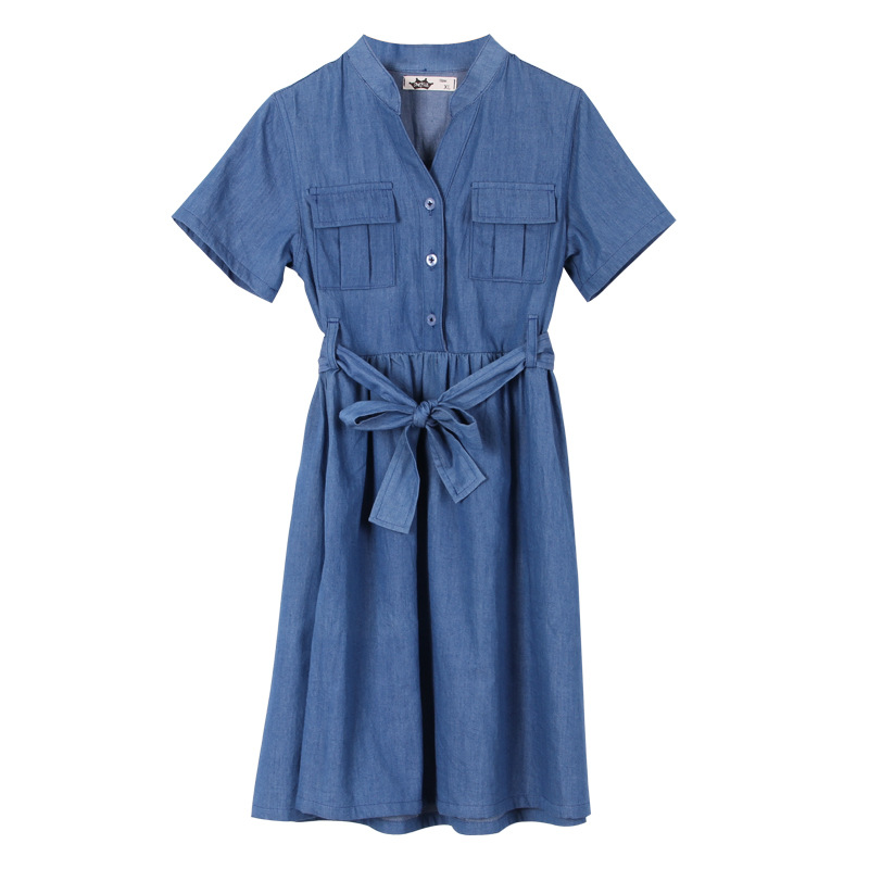 New Girls Dress 2020 Kids Jeans Dress Children Summer Clothes V-neck Personality Bow Denim Cotton Teen Baby Princess Dress,#5575