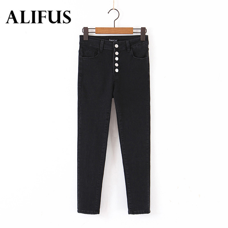 Fashion Za Spring Autumn Four Breasted High Waist Denim Pants Feet Female Thin Pencil Pants Casual Streetwear Pants