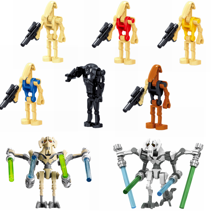 Star Wars Figures Battle Droid General Grievous Baby Yoda Mandalorian Starwars Building Blocks Bricks DIY Toys for Children Gift