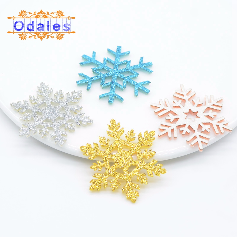 60Pcs/lots NEW Christmas Snowflake Ome Christmas Party Decorative Patches DIY Glitter Pads Snowflake For Christmas Gift Box/tree