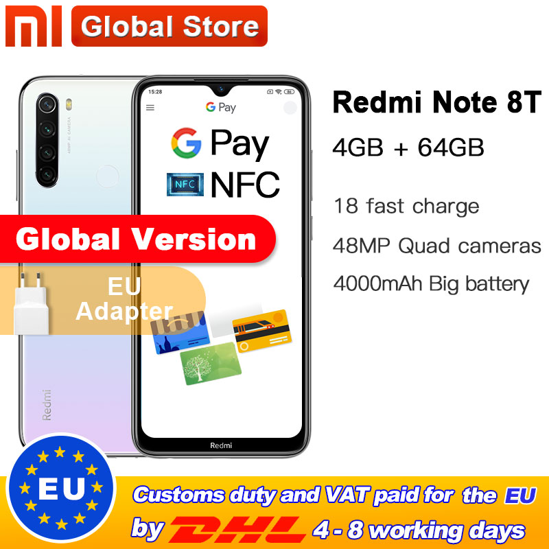 In Stock ! Global Version Xiaomi Redmi Note 8T  4GB RAM 64GB ROM NFC Mobile Phone 48MP Rear Camera Snapdragon 665 Octa Core