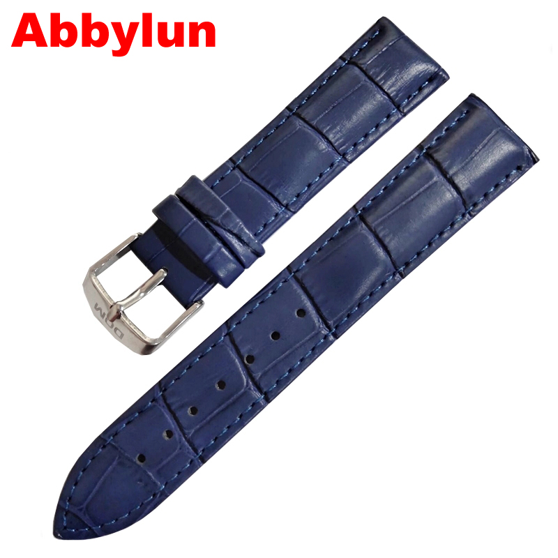 Abbylun Genuine Leather 20mm Watch Strap Men High Quality Blue Waterproof Buckle Wristwatch Band Bracelet Watch Accessories