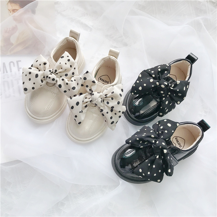 Girls Princess Shoes 2019 Spring And Autumn New Children's Bean Shoes  EnglandStyle Little Girls Single Leather Shoes Wave Dot