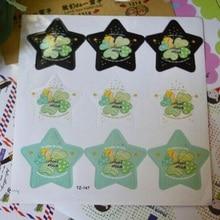 90PCS/lot  3 Colors Clover Star design kraft paper seal sticker for baking DIY Package label Decoration