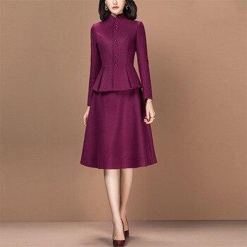 Two Piece Set Slim Fit Long Sleeve Blazer Jacket Tops Elegant Dress Suits Women Work Office Lady Bodycon Dress Female Plus Size color block plus size work bodycon dress