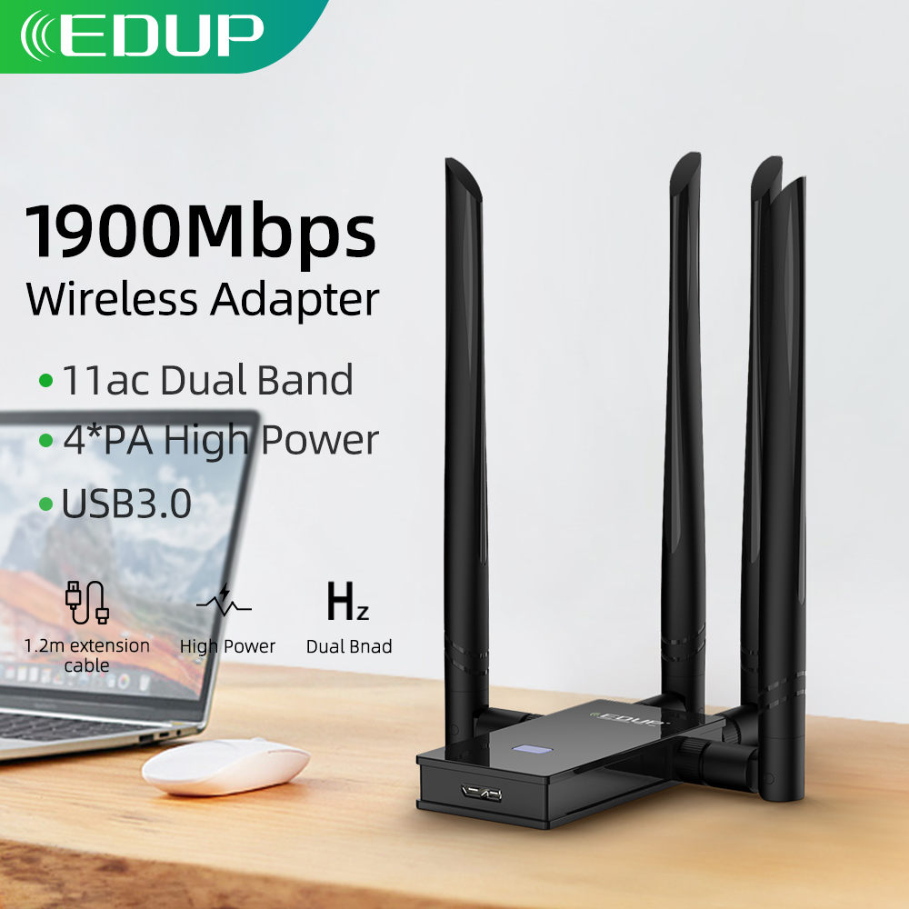 EDUP 5GHz USB WIFI Adapter 1900mbps 802 11ac Long Distance WiFi Receiver with 4 6dBi Antennas USB 3 0 Wireless Ethernet Adapter