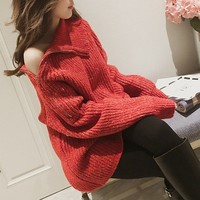 Women Turtleneck Sexy off shoulder knitted Zipped Sweater Autumn Winter Red Warm Loose Punk Jumpers Knitwear
