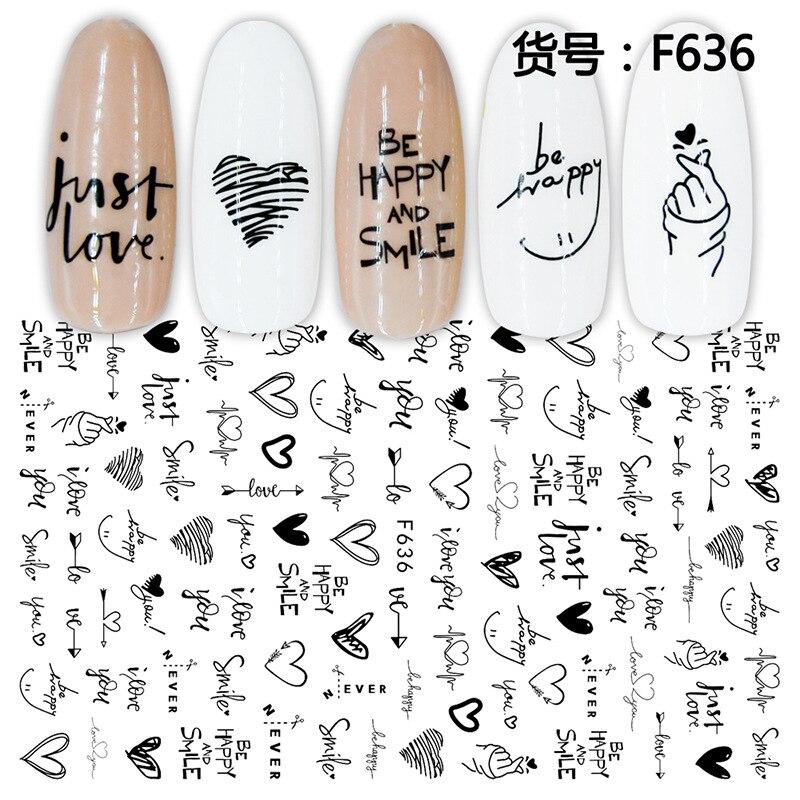 3D наклейки для ногтей крутые английские буквы украшения для дизайна ногтей Фольга любовь сердце дизайн аксессуары для ногтей модные наклей...