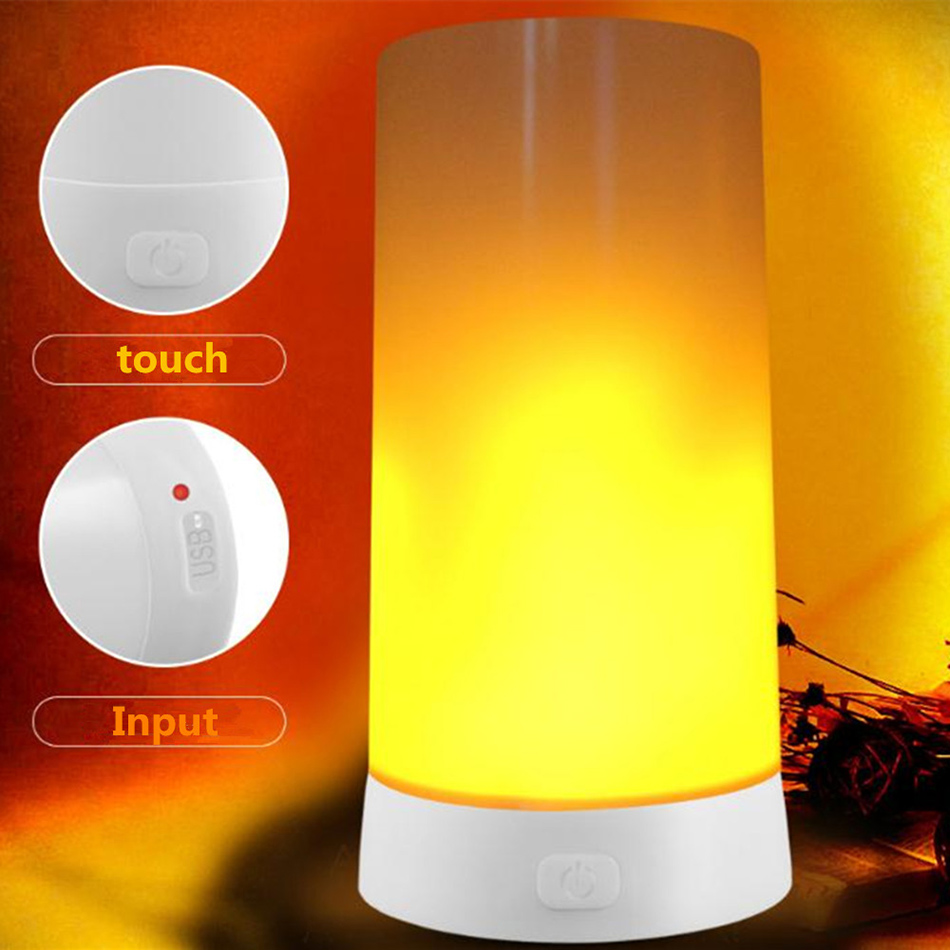 Chiclits 2W KTV Lamp Corridor USB Charging Small Dining Leisure Bar Flame Effect Magnetic Base LED Table Lamps Hot