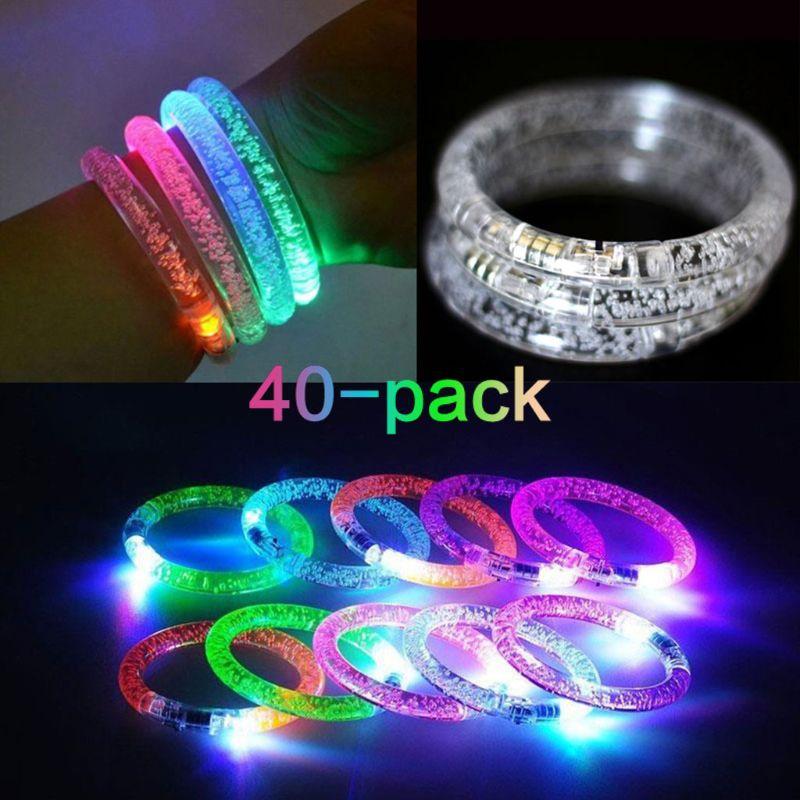 Clignotant Led jouets réutilisables Bracelets 40-Pack Premium lueur idéal pour la barre de fête noël mariages anniversaires, multicolore bracelet