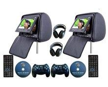 Paire de lecteurs DVD pour appui-tête de voiture, 2x7 pouces, avec couvercle à fermeture éclair, USB/SD, jeu sans fil 32 bits, IR,FM,3 couleurs en option