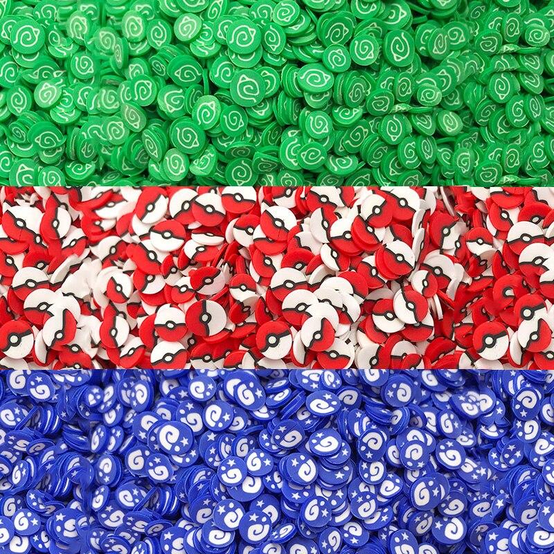 Круглый ломтик 50 г из полимерной глины с мультяшным аниме-логотипом, полимерная глина для рукоделия, сделай сам, Хрустальный наполнитель, ма...