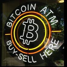 Custom B acquista vendi qui BITCOIN ATM personalizzato Beer Bar Glass Neon Light Sign