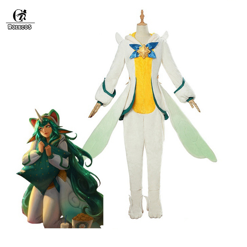 ROLECOS Star Guardian Soraka Cosplay Costume LOL Pajama Star Guardian Cosplay Costume Soraka Winter Pajama Jumpsuits Women Game