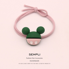 Sempli Acrylic Mickey Minnie Head Heart Love For Women Strong Elastic Hair Bands Kid Children Rubber High Elasticity