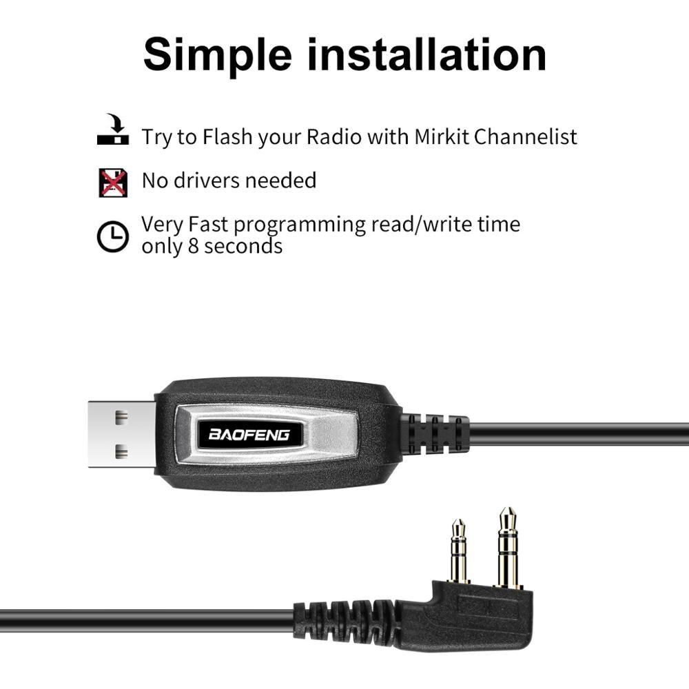 BAOFENG 2 broches prise USB câble de programmation pour talkie-walkie pour UV-5R série BF-888S Kenwood wouxun talkie-walkie accessoires