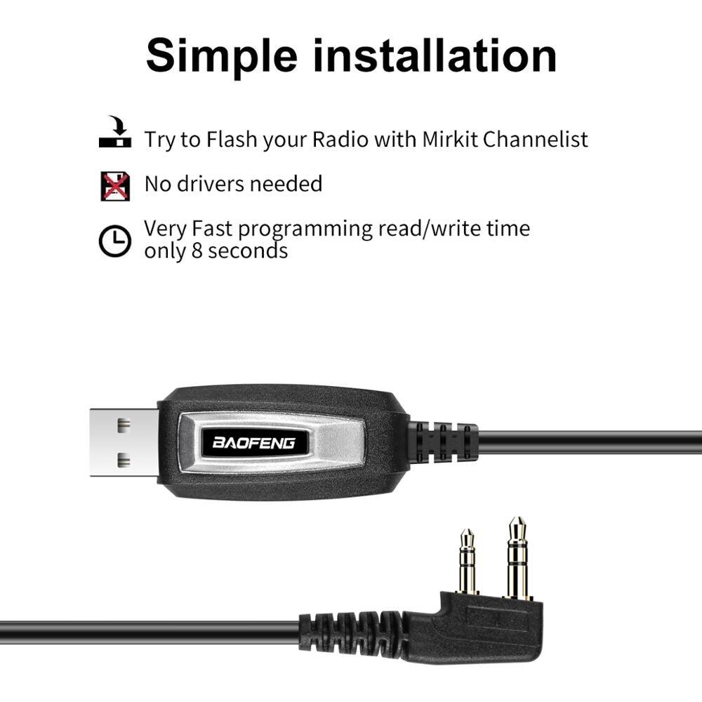 Usb-Programming-Cable Plug Walkie-Talkie-Accessories Wouxun Kenwood BF-888S BAOFENG UV-5R