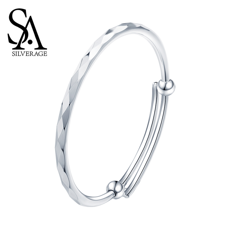 SA SILVERAGE Diamond S999 Silver 19.4g Bracelet Female Sterling Silver Jewelry Korean Version Simple Fashion Casual/Sporty Style