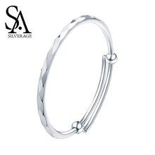 SA SILVERAGE Diamond S999 Silver 19.4g Bracelet Female Sterling Silver Jewelry Korean Version Simple Fashion Casual/Sporty Style