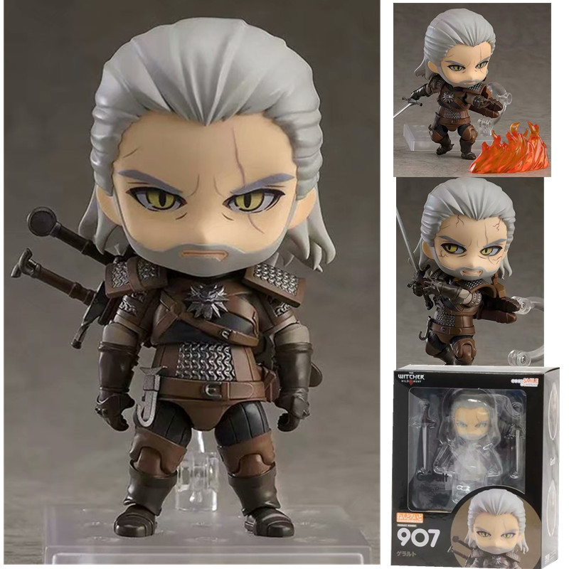 10CM Q Version Witcher-ed 3 Wild Hunt 907 # Geralt White Wolf Geralt PVC Action Figures Model Toys Gift Doll
