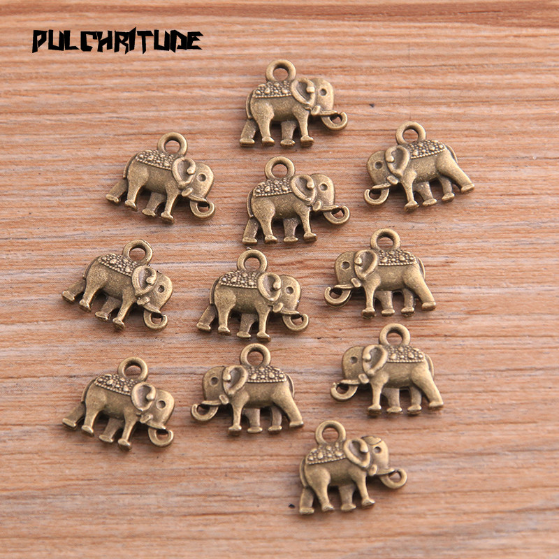 20pcs 12*13mm Three Color Metal Zinc Alloy Small Elephant Charms Fit Jewelry Animal Pendant Charms Makings 6