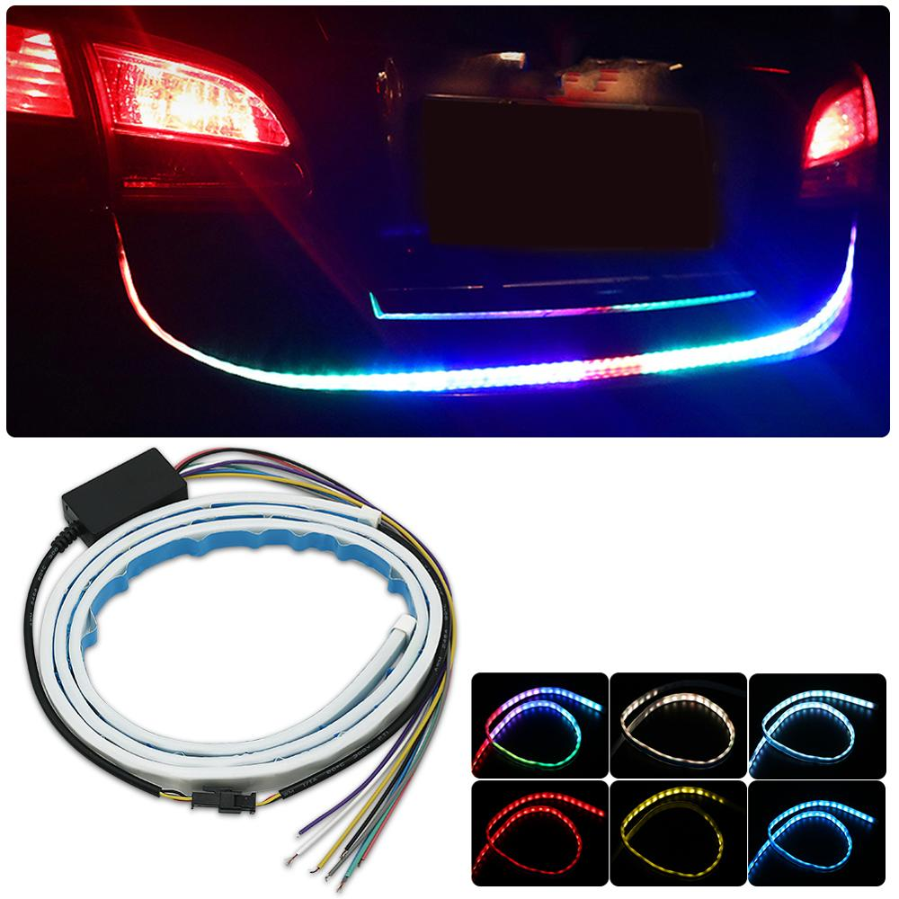 Car 7 Color Flowing Type DRL Trunk Box Turn Signals Rear Lights LED Strips Car Braking Light Day Running Lights Decoration Lamp