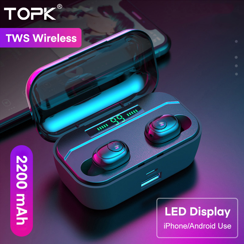 TOPK TWS Wireless Headphones Bluetooth 5.0 Earphone HD Stereo Noise Cancelling Gaming Headset Handsfree Earbuds In Ear