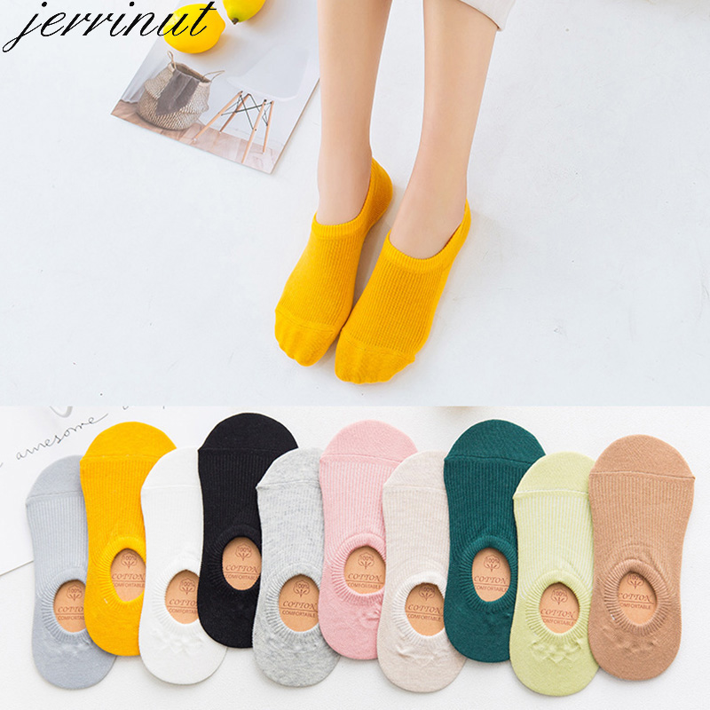 Women's Cotton Invisible No Show Socks Non-slip Summer Solid Color Short Socks Fashion Ankle Thin Boat Socks 10 Pieces = 5 Pairs