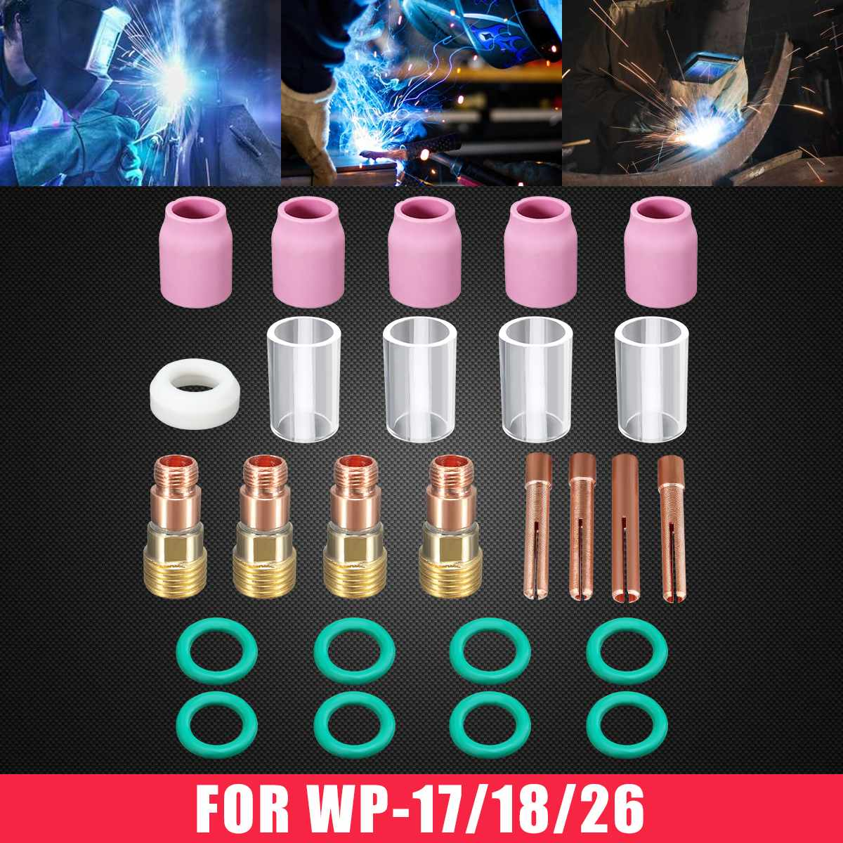 26x TIG Welding Torch Stubby Gas Lens #10 Pyrex Glass Cup Kit For WP-17/18/26 Welder Welding Tools New Arrival 2020