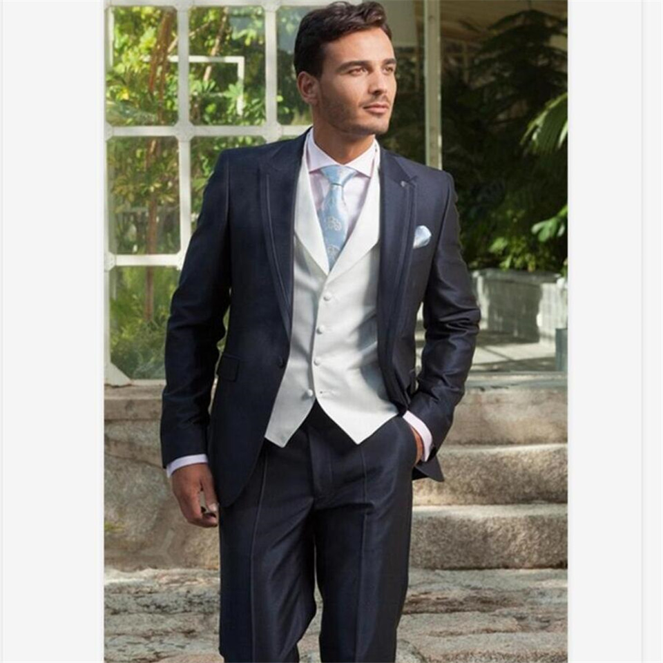 New Classic Men's Suit Smolking Noivo Terno Slim Fit Easculino Evening Suits For Men Navy Blue Groomsmen Wedding Dinner Best Man
