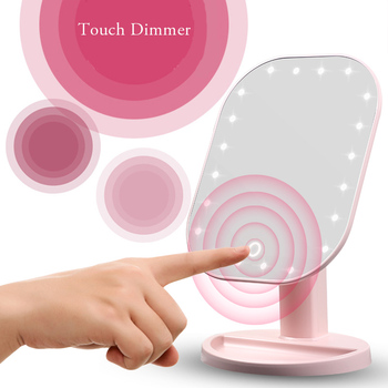 Touch Dimmer LED Mirror Touch Screen Makeup Mirror Luxury Mirror With 20 LED Lights 180 Degree Adjustable Table MakeUp Mirror 6
