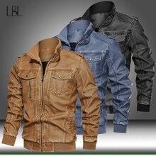 Neue Winter Motorrad Männlichen Leder Jacke Männer Windjacke PU Jacken Herren Outwear Warme PU Baseball Jacke Mann Casual Streetwear