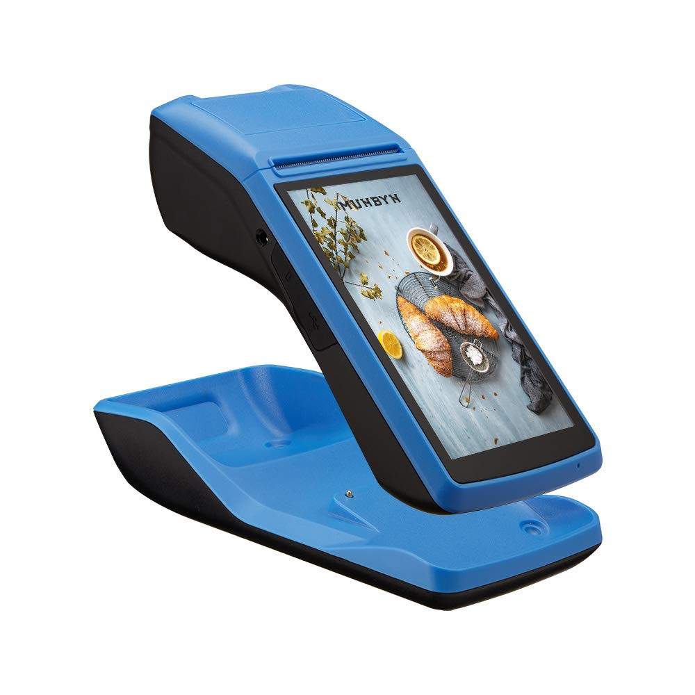 Handheld Android POS Terminal With 2G 3G WIFI Bluetooth NFC  Built-in Thermal Printer And Barcode Reader With Charger Dock