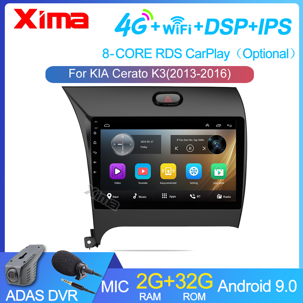 2din 9 Polegada android 2gb ram rádio do carro multimídia jogador de vídeo navegação gps para kia k3 cerato forte 2013 2014-2017 3 yd tuner