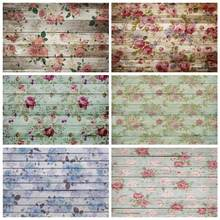 Laeacco деревянные доски фоны цветы Акварельный узор Новорожденный