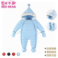 Autumn And Winter New Style Childrenswear Thick Warm Hooded Double Zip Placket Baby Onesie, Crawling Clothes Baby Rompers
