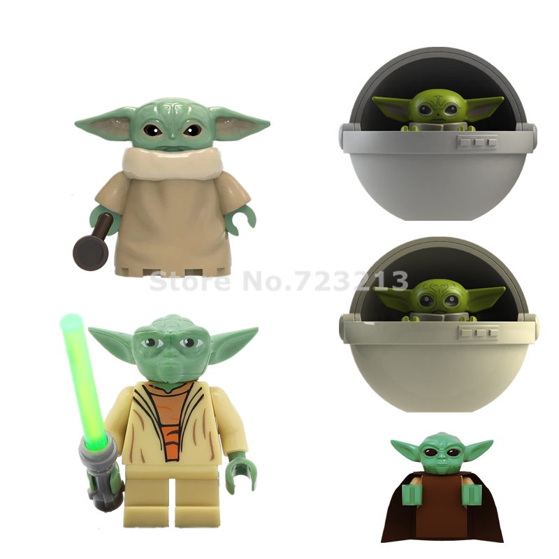 2020 New Single Star Wars Figure Baby Yoda Cot Mandalorian Star Wars Trooper Building Blocks Bricks Toys For Children XH1533