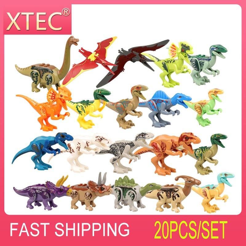20 pçs dinossauros conjunto para legoes jurássico dinossauro parque mundial tyrannosaurus rex figura de ação blocos construção tijolos crianças brinquedos presente