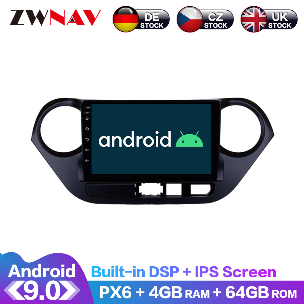 Android 9.0 IPS Screen PX6 DSP For <font><b>Hyundai</b></font> <font><b>Grand</b></font> <font><b>I10</b></font> 2018 2019 Car No DVD <font><b>GPS</b></font> Multimedia Player Head Unit Radio Audio Stereo image