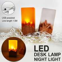 New Product Creative Gifts resin Solid Wood Bedroom Decor LED Night Lights Rechargeable Night Lights Eye Protection Table Lamp cheap BRIGHTINWD Atmosphere CN(Origin) NONE LED Bulbs Switch HOLIDAY 0-5W USB power supply Button type tree Northern Europe Nightlight