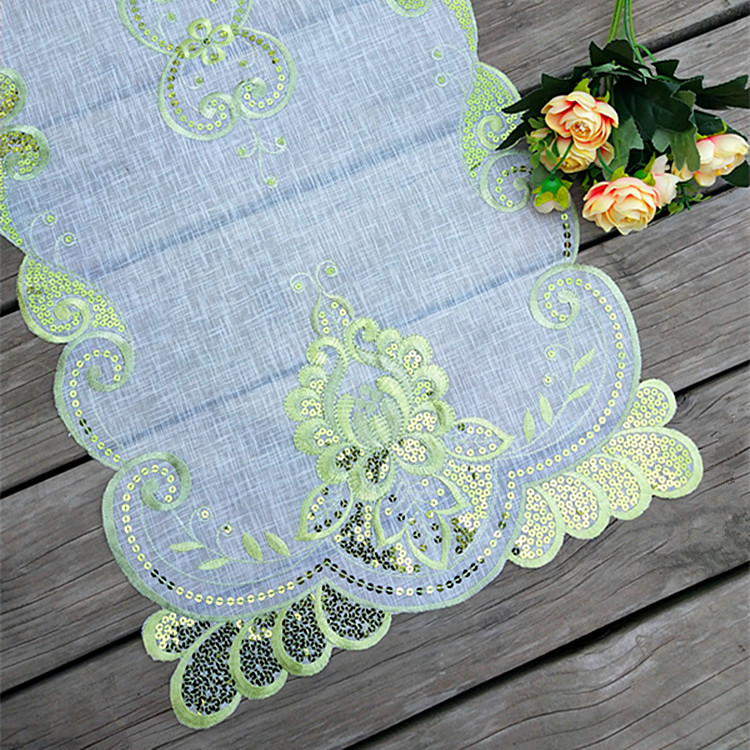 Modern Lace Embroidery Bed Table Runner Cloth Cover Tea Coffee Tablecloth Mantel Nappe Dining Kitchen Party Wedding Decor