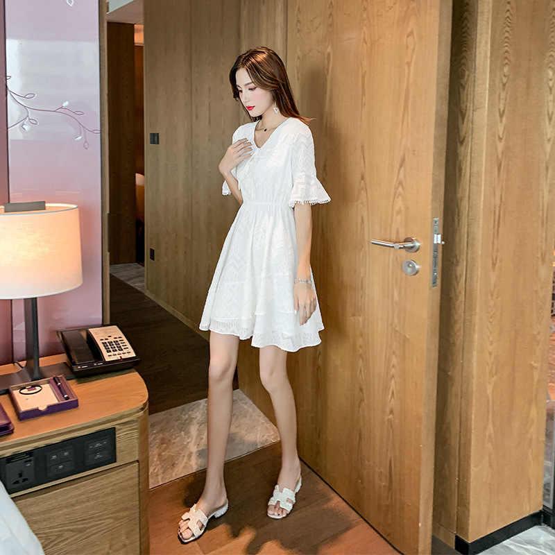 Платье в Корейском стиле Лето 2019 г. Новая стильная шифоновая юбка с высокой