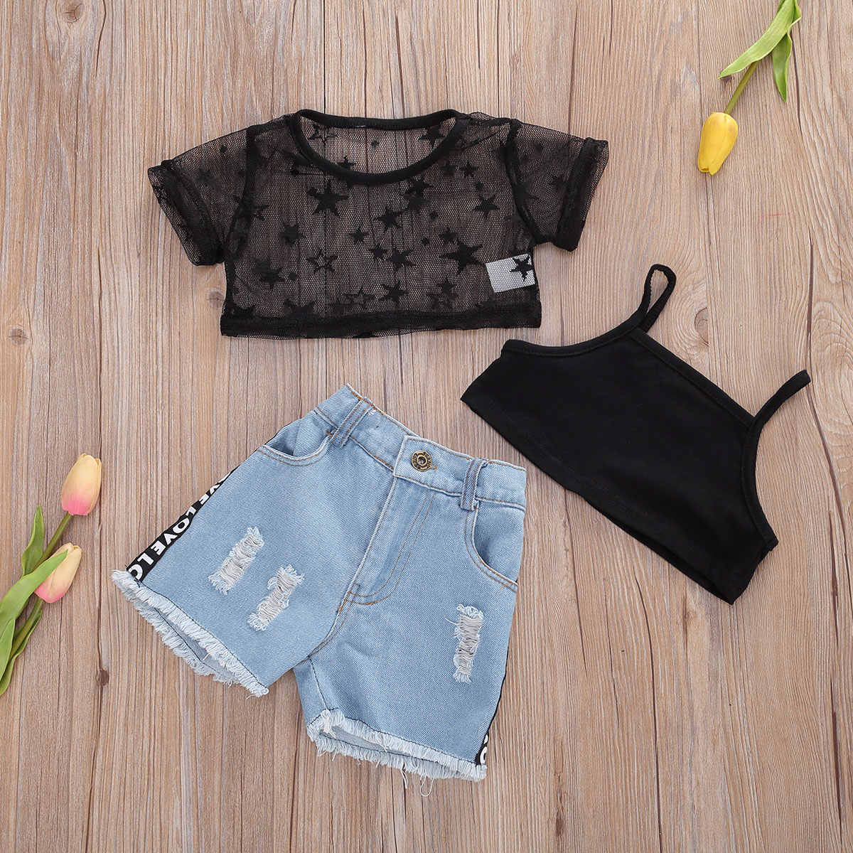 Toddler Kids Clothing Girls Cute Letter Printing Sleeveless Vest Crop Top+Denim Shorts Pants Outfits Clothes Set