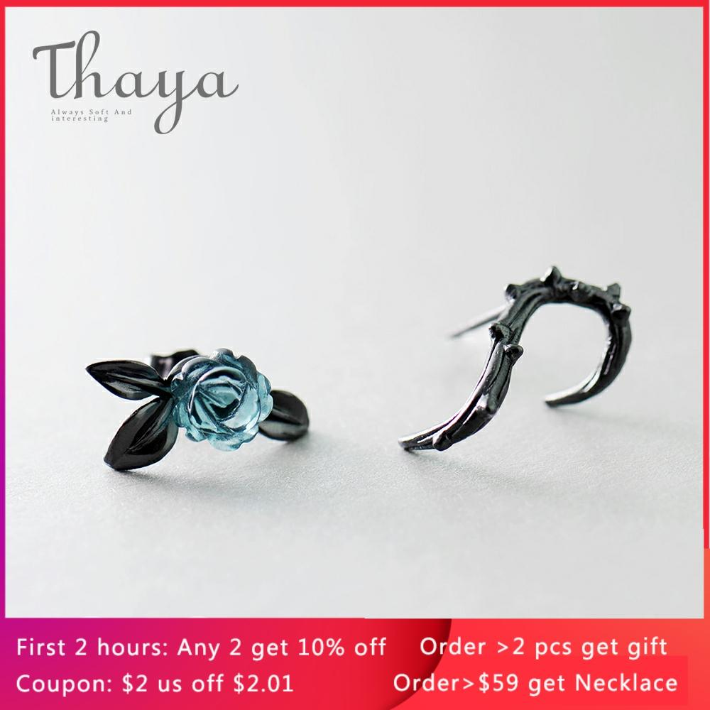 Thaya s925 Silver Thorn Blue Crystal Rose Design Black Stud Earrings for Women Asymmetry Flower Earring Female Jewelry Gift