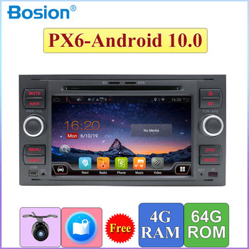 PX6 Autoradio 2 din android 10.0 car dvd gps for ford for focus 2/mondeo/s max/c-max/fusion/fiesta/transit head unit canbus image