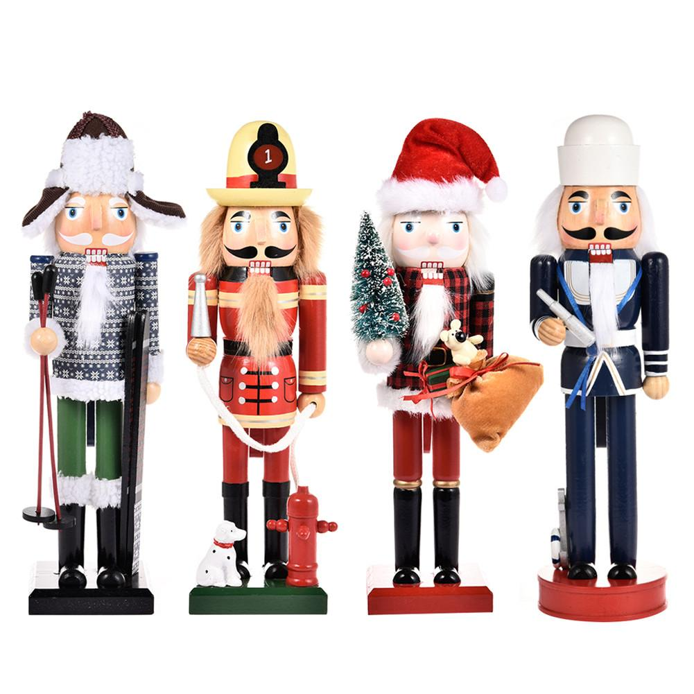Nutcracker Christmas Ornament Wooden Nutcracker Soldier Action Figures For Christmas Gift Table Decoration New Year Decor Doll